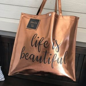 NWT Gorgeous Life is Beautiful Bronze Tote Bag